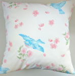 "16"" Pink and Blue Bird Cushion Cover"